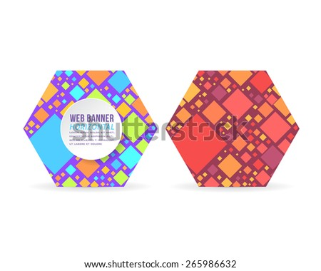 Vector Multicolor Square Diamond Elements Hexagon Frame Flat Web Banner Template Set - stock vector