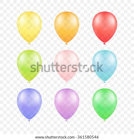 Vector Multicolored Colorful Balloons Set Isolated on Transparent Background - stock vector