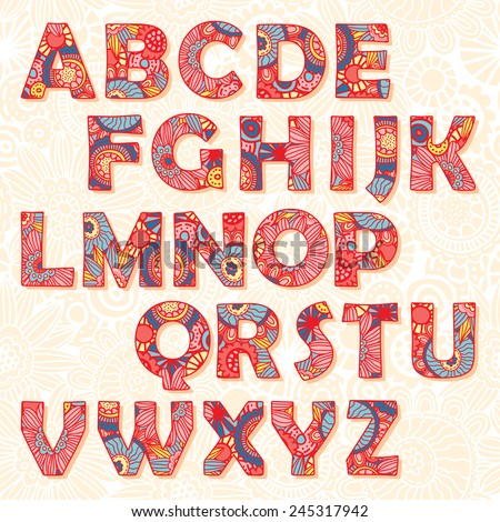 Vector multicolored decorative alphabet with floral ornament - stock vector