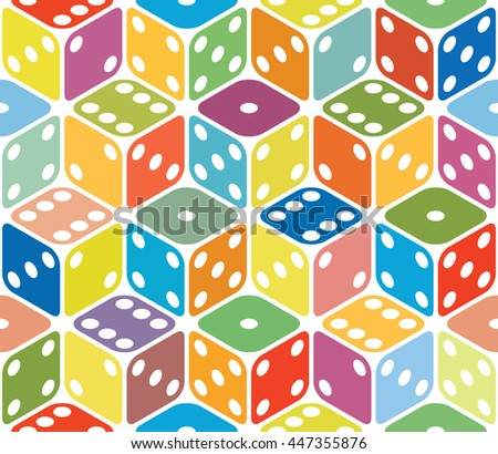Vector multicolored dice seamless background - stock vector