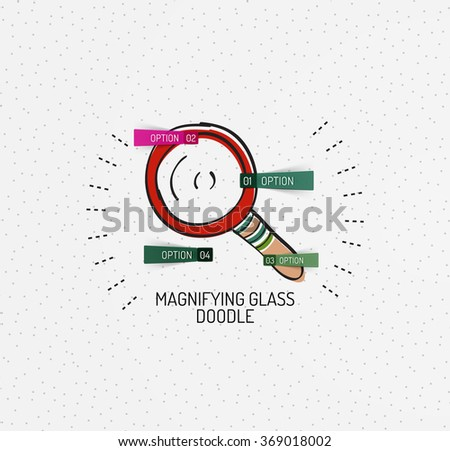 Vector multicolored hand-drawn doodles, icon, stamp. Magnifying glass concept - stock vector