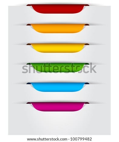 Vector multicolored paper labels for text. - stock vector