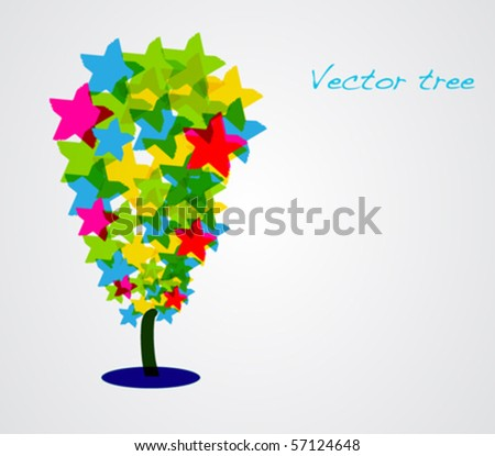 Vector multicolored tree. - stock vector