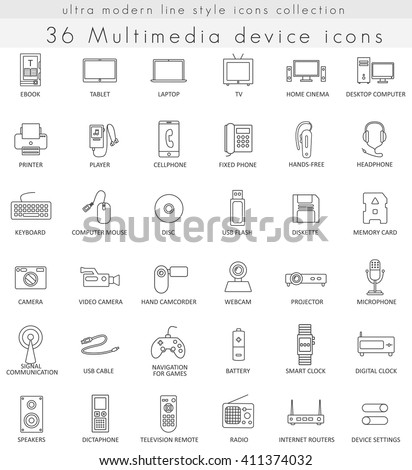 Vector Multimedia Devices ultra modern outline line icons for web and apps. Multimedia Devices icons set, Multimedia Devices icons collection, Multimedia Devices vector icons, Multimedia Devices icons - stock vector