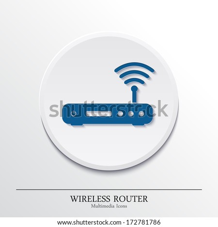Vector multimedia icons on button, wireless router. - stock vector