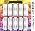 VECTOR - Multiplication Table - Educational Material for Primary School Level - Colorful Abstract Background One, Two, Three, Four, Five, Six, Seven, Eight, Nine, Ten - Helpful For Children, Classroom - stock vector