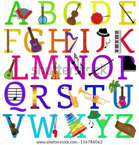 Vector Music Alphabet Set - More in Portfolio - stock vector
