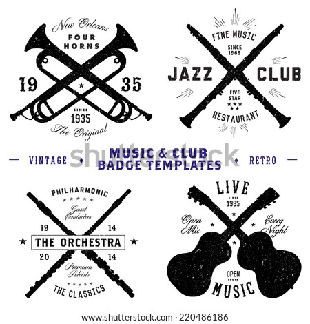 Vector Music and Club Badge Set. All pieces are separated and easy to edit. - stock vector