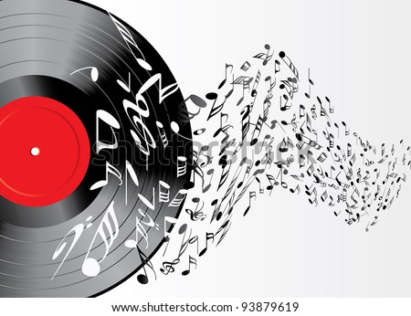 vector music background with vinyl record
