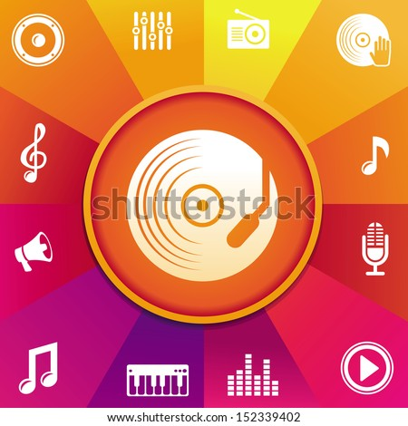 Vector music concept - icons on round background in rainbow color - stock vector