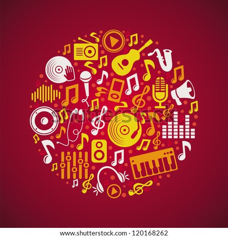 Vector music concept with bright icons and notes - stock vector
