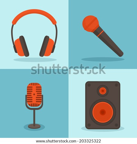 Vector music concepts in flat style. Set of icons - microphones, speakers - stock vector