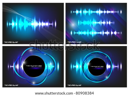 Vector music equalizer wave, colored violet. Contains blurry particles and bright lights for your design. - stock vector
