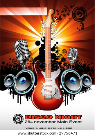 VECTOR Music Event Background with a colorful Electric Guitar - stock vector