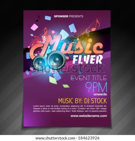 vector music flyer brochure poster template design - stock vector