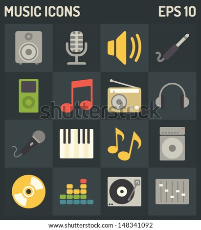 Vector music icons - stock vector