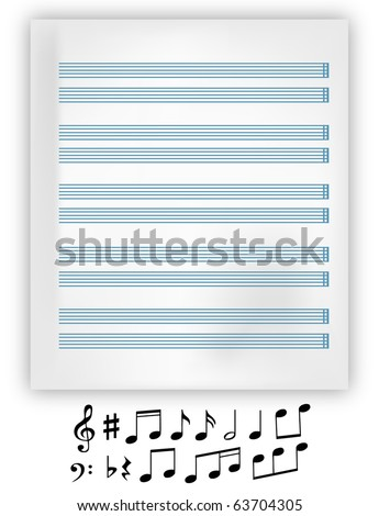 Vector music notation elements and music note sheet. - stock vector