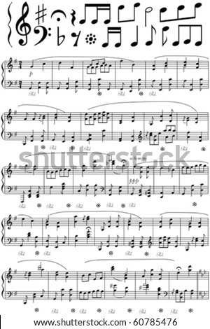 Vector music note sheet - stock vector