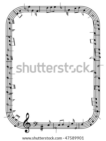 vector music notes frame - Music Note Picture Frame
