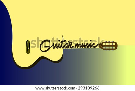 Vector music poster - acoustic guitar instrument - stock vector