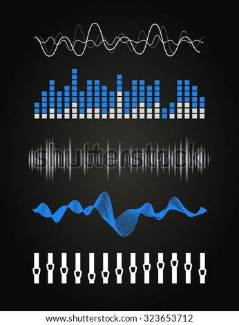 Vector music sound waves set. Audio digital equalizer technology, console panel, pulse musical.  - stock vector