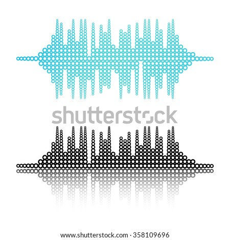 Vector music sound waves set. Vector illustration. Template for web works, cover, wallpaper or some art and business works. - stock vector