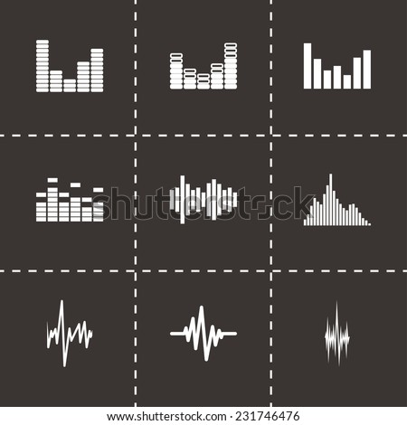 Vector music soundwave icon set on black background - stock vector