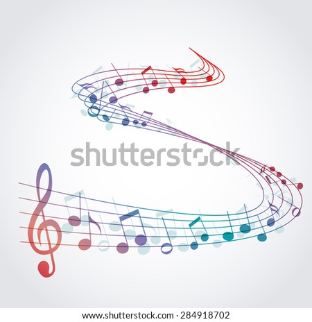 Vector musical background with colored notes, melody - stock vector