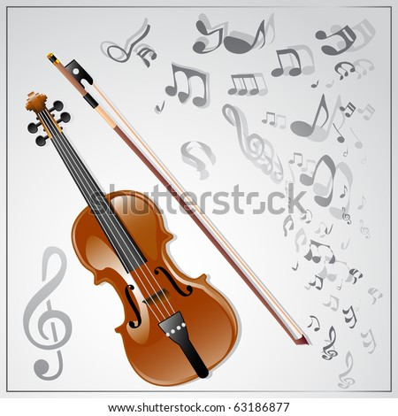 Vector musical background with violin - stock vector