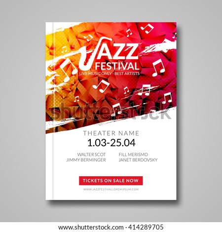 music brochure templates - vector musical flyer jazz festival music stock vector
