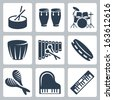 Vector musical instruments: drums and keyboards - stock vector