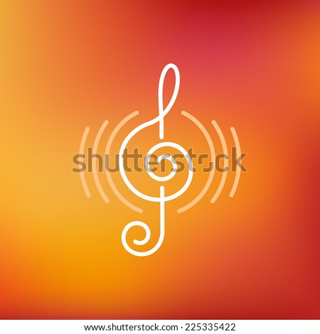 Vector musical logo and icon in outline style - design elements - music and audio concept - stock vector