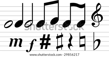 Vector musical notations on white background