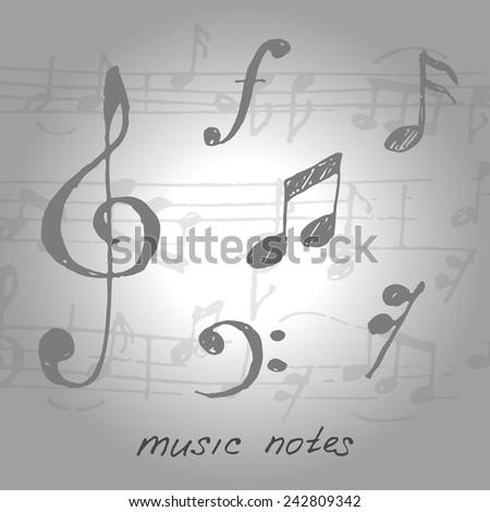 Vector musical notes. Sketch. - stock vector