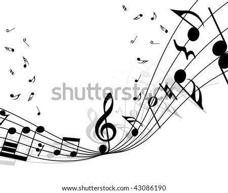 Vector musical notes staff background for design use stock image Music Note Coloring Pages For Adults