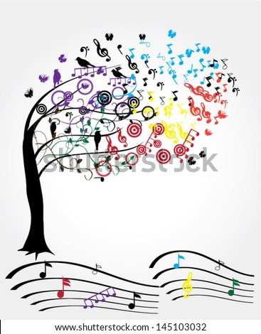 vector musical tree with notes and birds - stock vector