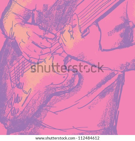 vector musician playing guitar. grunge vector illustration - stock vector