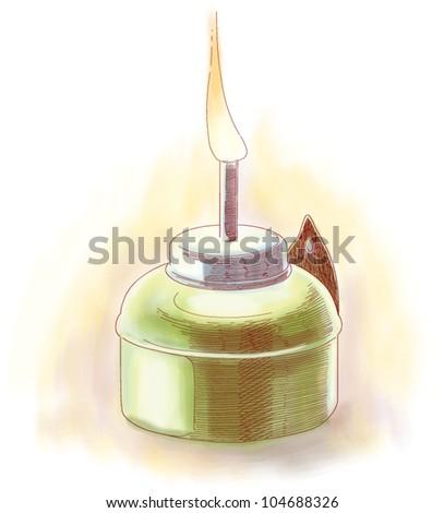Vector Muslim Oil Lamp - Pelita - stock vector