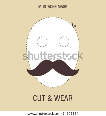 Vector mustache mask - stock vector