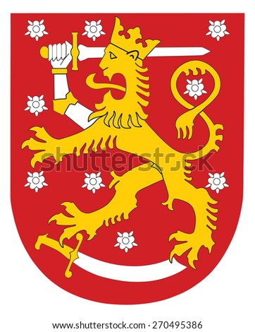 Vector national coat of arms of Finland, Original and simple Coat of arms of Finland flag isolated vector in official colors and Proportion Correctly.