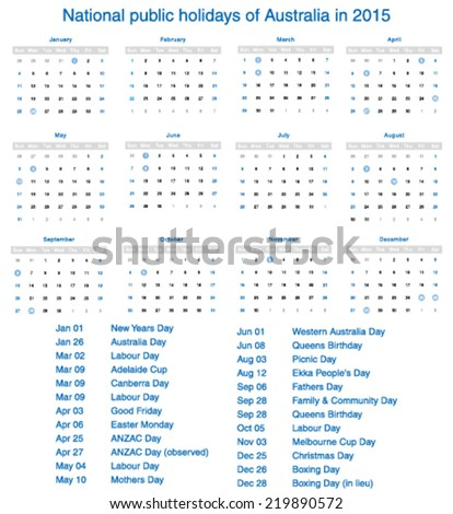 Vector national public holidays of Australia in 2015. Template design calendar.