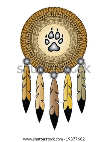 vector native american indian medicine shield with wolf track