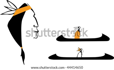 vector native american simbols - stock vector