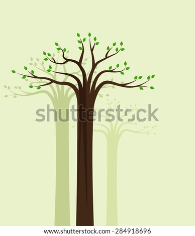 Vector natural background of trees with leaves - stock vector