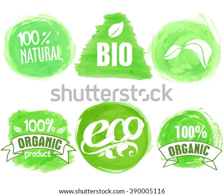 Vector natural, organic food, bio, eco labels on white background.  Round, square and triangle shapes with ribbons. Hand drawn watercolor stains collection