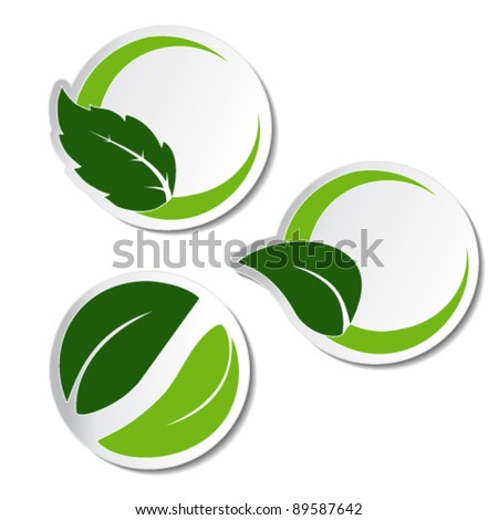 Vector natural stickers with leaf