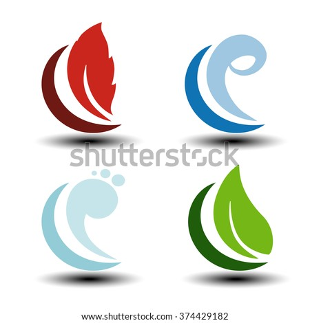 Vector natural symbols - fire, air, water, earth - nature icons with flame, bubble air, wave water and leaf. Elements of ecology sources, alternative energy.