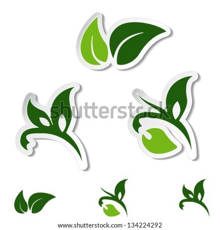 Vector natural symbols - leaf, plant - stickers