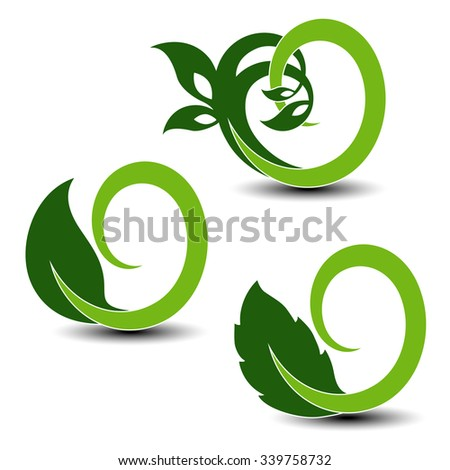 Vector natural symbols, nature circular elements with leaf, plant - stock vector