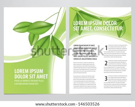 vector nature brochure, flyer template - stock vector